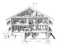 3d section of a country house. If we cut a house in half we will see how zoned rooms on the floors. Garage and heating are in the basement. Kitchen, living room Royalty Free Stock Photography
