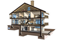 3d section of a country house. If we cut a house in half we will see how zoned rooms on the floors. Garage and heating are in the basement. Kitchen, living room Royalty Free Stock Images
