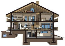 3d section of a country house. If we cut a house in half we will see how zoned rooms on the floors. Garage and heating are in the basement. Kitchen, living room Royalty Free Stock Image