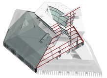 3D section. Drawing: The structural section of the modern multistory building Stock Images