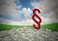 3D Section Symbol icon with money notes and sky. Digital composite of 3D Section Symbol icon with money notes and sky Royalty Free Stock Photo