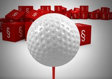 3D Section symbol icons and golf ball. Digital composite of 3D Section symbol icons and golf ball Stock Photos