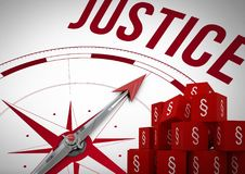 3D Section symbol icons and justice compass. Digital composite of 3D Section symbol icons and justice compass Stock Image
