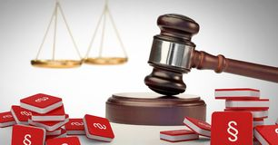 3D Section symbol icons and justice gavel with balance scales. Digital composite of 3D Section symbol icons and justice gavel with balance scales Stock Photos