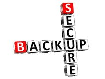 3D Secure Backup Crossword on white background Stock Photography