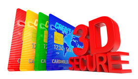 3D Secure Credit Card. A 3D Rendering credit card with 3D Secure text Stock Image