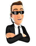 3d security agent with arms crossed Royalty Free Stock Images