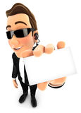 3d security agent holding company card. Isolated white background Royalty Free Stock Photography