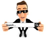 3d security agent holding a search bar. Illustration with isolated white background vector illustration