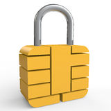 3d security chip lock Royalty Free Stock Photo