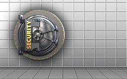 3d security door blank. 3d illustration of security door  over white wall background Stock Photography