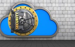 3d security door cloud. 3d illustration of cloud with security door over white stones background Royalty Free Stock Photography