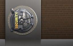 3d security door metal box. 3d illustration of metal box with security door over bricks background Stock Photos