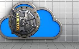 3d security door security door. 3d illustration of cloud with security door over white wall background Royalty Free Stock Photo