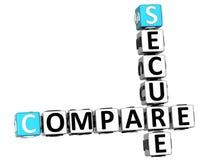3D seguros comparam palavras cruzadas Foto de Stock Royalty Free