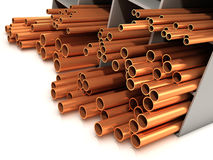 3d Selection of copper pipes. 3d render of copper pipes Stock Images