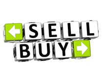 3D Sell Buy Button Click Here Block Text. Over white background Royalty Free Stock Photography