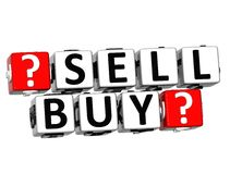 3D Sell Buy Button Click Here Block Text. Over white background Stock Photos