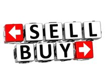 3D Sell Buy Button Click Here Block Text. Over white background Royalty Free Stock Photos