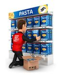 3d seller arranging packs of pasta in supermarket shelve. Illustration with isolated white background Stock Photo