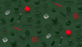 3d sem emenda rendem a composição moderna dos objetos da geometria do fundo de memphis da tampa da textura verde e vermelha do pr ilustração do vetor