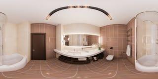 360 3d sem emenda renderam o banheiro do design de interiores do panorama no mo Foto de Stock Royalty Free
