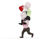 3d Send a heart. 3d man running on the back of a heart Stock Photos