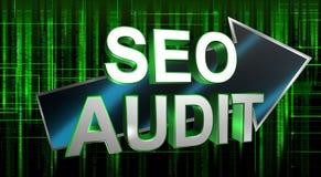 SEO Audit. 3D SEO Audit sign with an arrow pointing upwards Royalty Free Stock Photos