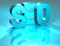3D SEO Blue Text Stockfoto