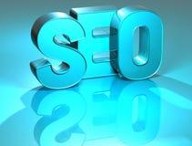 3D SEO Blue Text Stock Photo