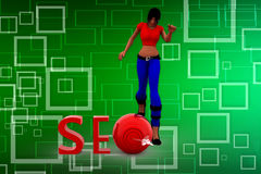 3D SEO kobiety ilustracja Obraz Stock