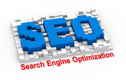 3d seo - search engine optimization pixel board Stock Photos
