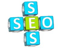 3D Seo Service Crossword text Stock Image