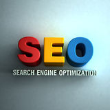 3D SEO word ad in wall Stock Photo