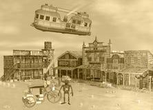 3D Sepia Toonillustratie van Oude Westelijke Stoom Punkscène royalty-vrije illustratie