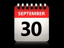 3d 30 september calendar. 3d illustration of 30 september calendar over black background Stock Image