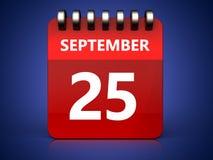 3d 25 september calendar. 3d illustration of september 25 calendar over blue background Royalty Free Stock Photography