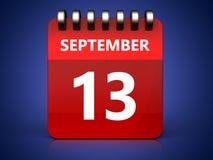 3d 13 september calendar. 3d illustration of september 13 calendar over blue background Stock Photos