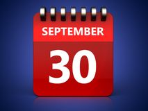 3d 30 september calendar. 3d illustration of september 30 calendar over blue background Royalty Free Stock Images
