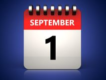 3d 1 september calendar. 3d illustration of 1 september calendar over blue background Royalty Free Stock Photography