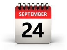 3d 24 september calendar. 3d illustration of 24 september calendar over white background Stock Photos