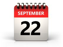 3d 22 september calendar. 3d illustration of 22 september calendar over white background Royalty Free Stock Image