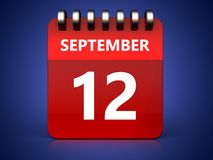 3d 12 september calendar. 3d illustration of september 12 calendar over blue background Stock Photo
