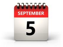 3d 5 september calendar. 3d illustration of 5 september calendar over white background Stock Images