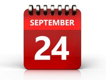 3d 24 september-kalender Stock Afbeelding