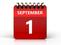 3d 1 september-kalender stock illustratie