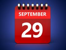 3d 29 september-kalender vector illustratie