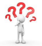 3d ser humano branco - muitas perguntas ilustração stock