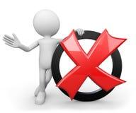 3d ser humano branco - símbolo da cruz vermelha ilustração stock