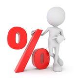 3d ser humano branco - símbolo vermelho da porcentagem ilustração do vetor